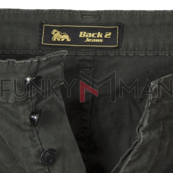 Cargo Παντελόνι με Velcro στα μπατζάκια Back2jeans T24 Army Χακί