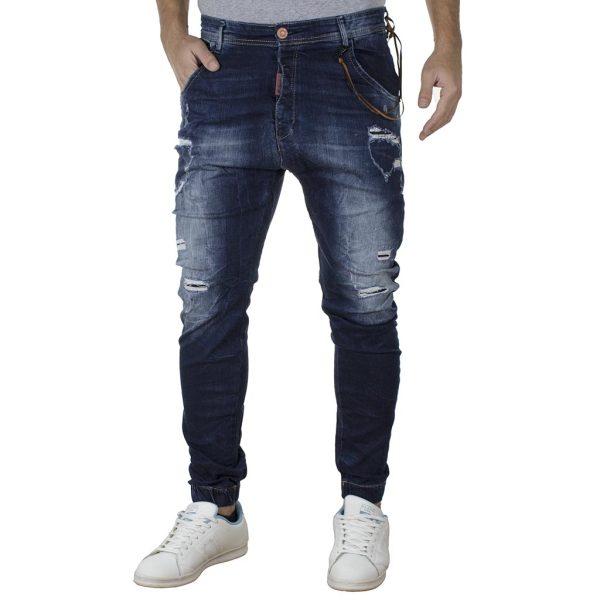 Τζιν Παντελόνι Chinos Slim Carrot με Λάστιχα Back2jeans T4E Μπλε
