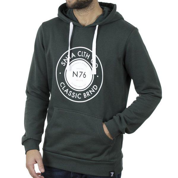 Μπλούζα Φούτερ με Κουκούλα Hoodie BigMan BM-547 Πράσινο