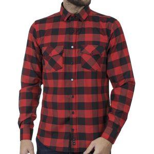 Καρό Πουκάμισο Slim Fit CND Shirts 5500-2 Κόκκινο