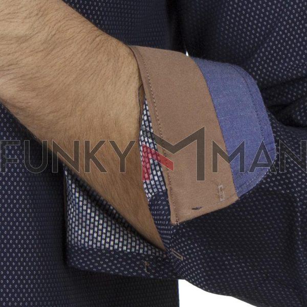Μακρυμάνικο Πουκάμισο Slim Fit CND Shirts 5600-10 σκούρο Μπλε