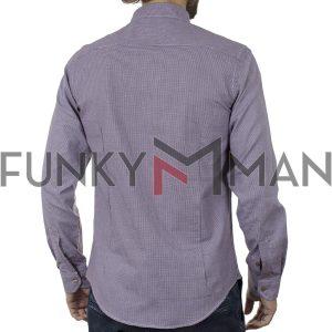 Μακρυμάνικο Πουκάμισο Slim Fit CND Shirts 5700-5 Μπορντό