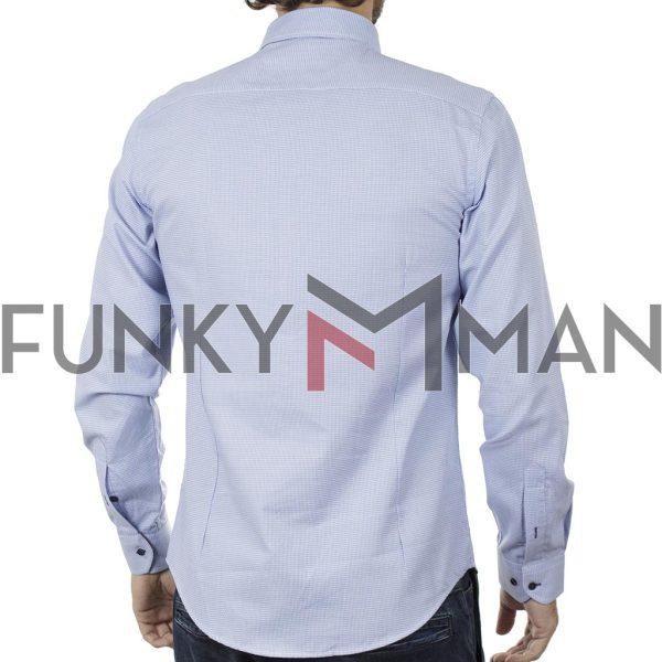Μακρυμάνικο Πουκάμισο Slim Fit CND Shirts 5700-7 Σιέλ