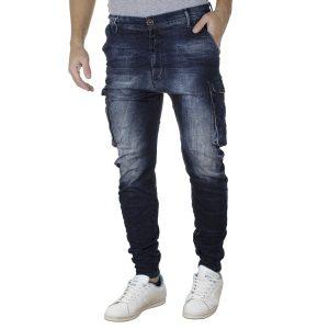Jean Cargo Παντελόνι με Λάστιχα Slim DAMAGED R11C SS20 Army Μπλε