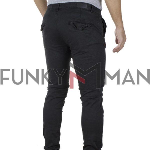 Παντελόνι Chinos με Λάστιχα Rib on Leg DOUBLE CCP-15 Μαύρο