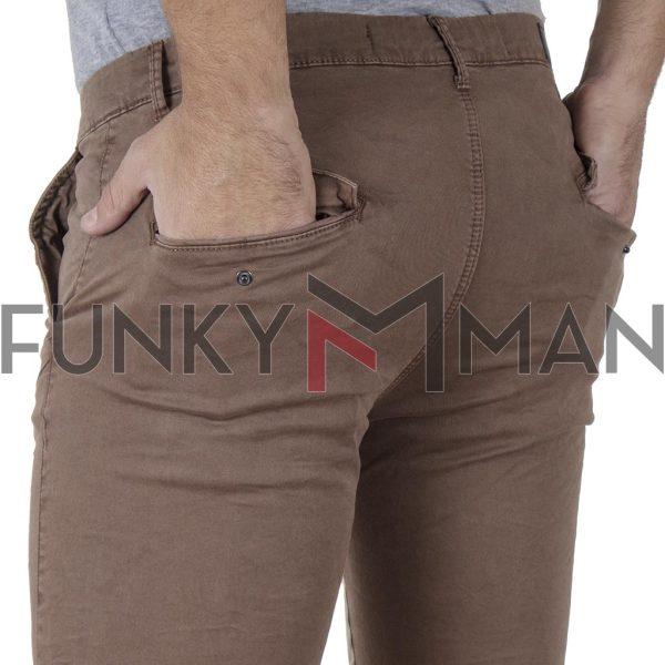 Παντελόνι Chinos με Λάστιχα Rib on Leg DOUBLE CCP-15 Camel