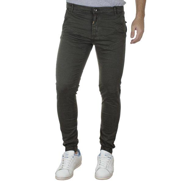 Παντελόνι Chinos με Λάστιχα Rib on Leg DOUBLE CCP-15 Χακί