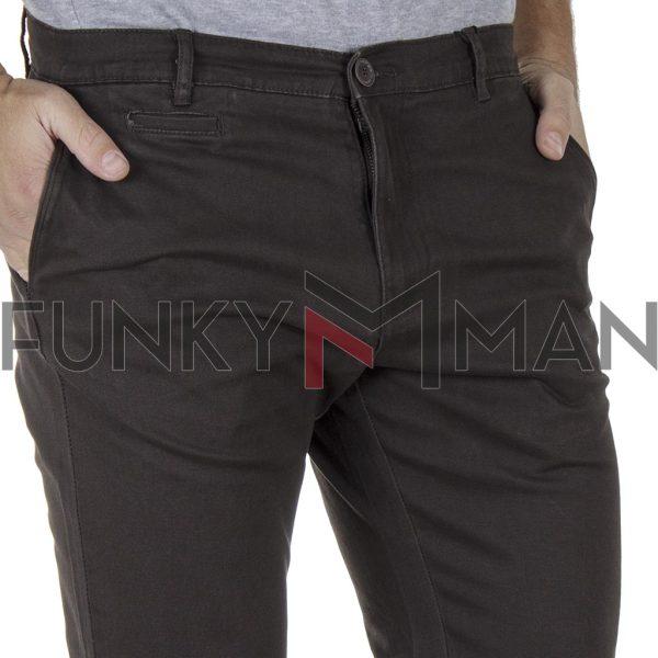 Παντελόνι Casual Chinos DOUBLE CP-220 σκούρο Καφέ