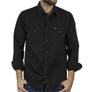 Τζιν Πουκάμισο Comfort-Regular Fit DOUBLE Denim Shirts DS-12 Μαύρο