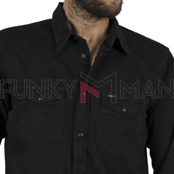 Τζιν Πουκάμισο Comfort-Regular Fit DOUBLE Denim Shirts DS-12 Μαύρο