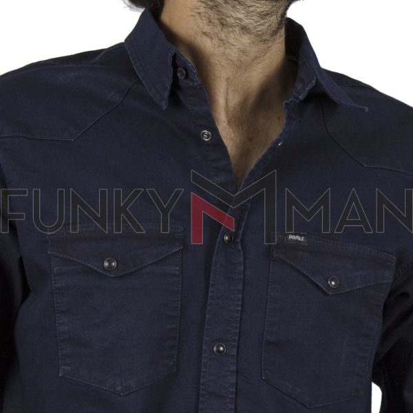 Τζιν Πουκάμισο Comfort-Regular Fit DOUBLE Denim Shirts DS-12 Navy