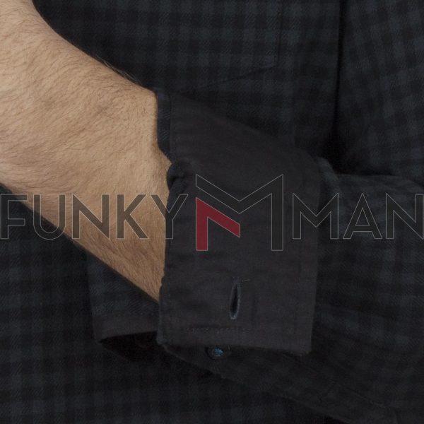 Καρό Πουκάμισο φανέλα DUKE KS10362 JARED Μαύρο