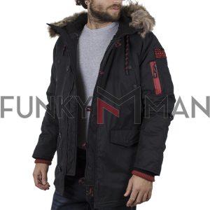Μακρύ Παρκά Μπουφάν Parka Jacket Garage55 002.001072 Μαύρο