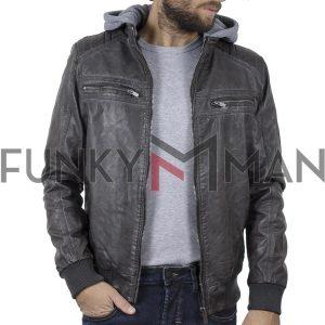 Jacket Δερματίνη με Κουκούλα Garage55 GAM204-01219 σκούρο Γκρι