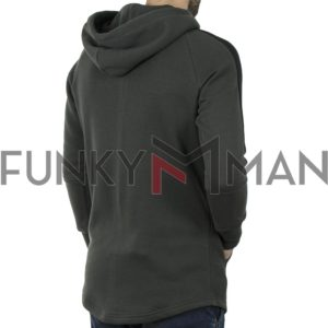 Μακρύ Fashion Hoodie PONTEROSSO 19-2047 ZIPED Pesto