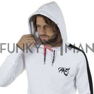 Μακρύ Fashion Hoodie PONTEROSSO 19-2047 ZIPED Λευκό