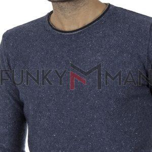 Πλεκτή Μπλούζα Πουλόβερ BATTERY 06S900492 Μπλε Denim