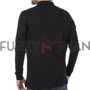 Μακρυμάνικη Μπλούζα με Γιακά POLO CARAG 66-555-20N Μαύρο