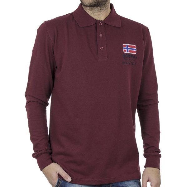 Μακρυμάνικη Μπλούζα με Γιακά POLO CARAG 66-555-20N Μπορντό