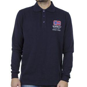 Μακρυμάνικη Μπλούζα με Γιακά POLO CARAG 66-555-20N Navy