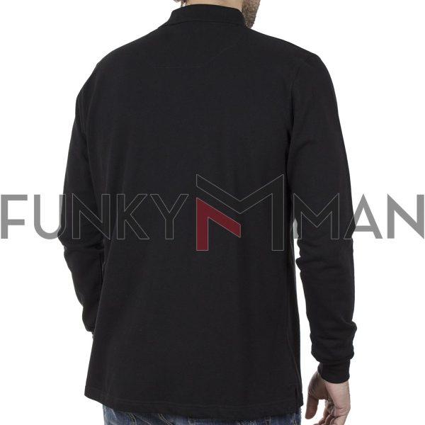Μακρυμάνικη Μπλούζα με Γιακά POLO CARAG PIQUE 99-577-20N Μαύρο