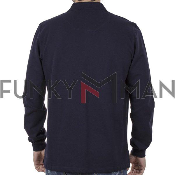 Μακρυμάνικη Μπλούζα με Γιακά POLO CARAG PIQUE 99-577-20N Navy