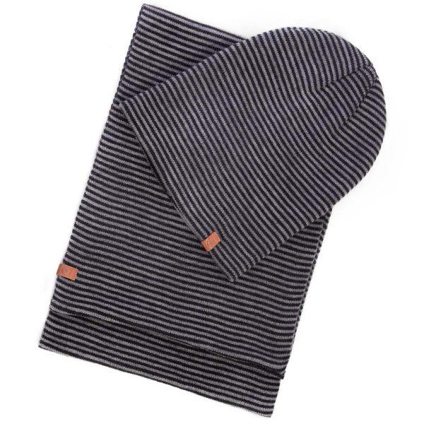 Σετ Ριγέ Πλεκτός Σκούφος με Ριγέ Κασκόλ HEAVY TOOLS PARK σκούρο Γκρι