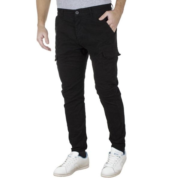 Cargo Παντελόνι με Velcro στα μπατζάκια Back2jeans T25 Army Μαύρο