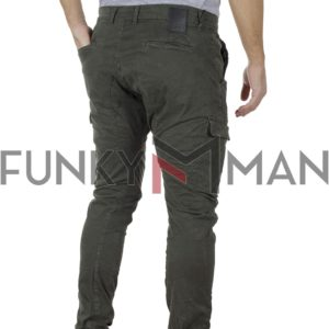 Cargo Παντελόνι με Velcro στα μπατζάκια Back2jeans T25 Army Χακί