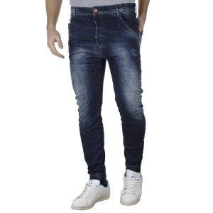 Τζιν Παντελόνι Chinos Slim Carrot με Λάστιχα Back2jeans T4A Μπλε