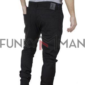 Τζιν Chinos Παντελόνι με Λάστιχα κάτω Back2jeans Slim W19F SS20 Μαύρο