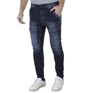 Jean Cargo Παντελόνι με Λάστιχα Slim DAMAGED R1B Army Μπλε
