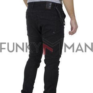 Jean Chinos Παντελόνι με Λάστιχα Damaged R8D slim fit Μαύρο