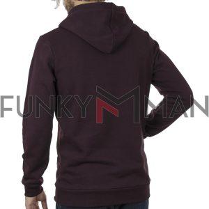 Μακρύ Fashion Φούτερ με Κουκούλα Hoodie BigMan BM-547 Wine Red