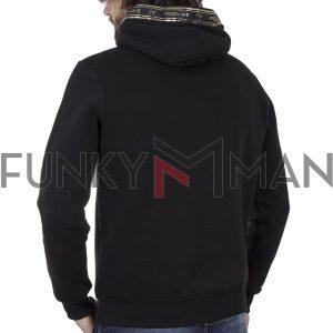 Μπλούζα Φούτερ με Κουκούλα HOODIE FREE WAVE 92411 Μαύρο