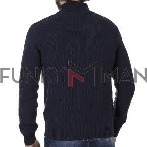 Μακρυμάνικο Πλεκτό Henley FUNKY BUDDHA 001.006918 Navy