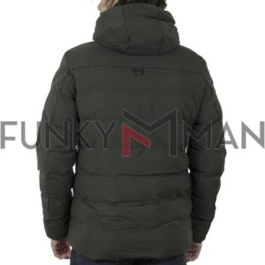 Φουσκωτό Μπουφάν με κουκούλα Puffer Jacket SPLENDID 42-201-026 Χακί