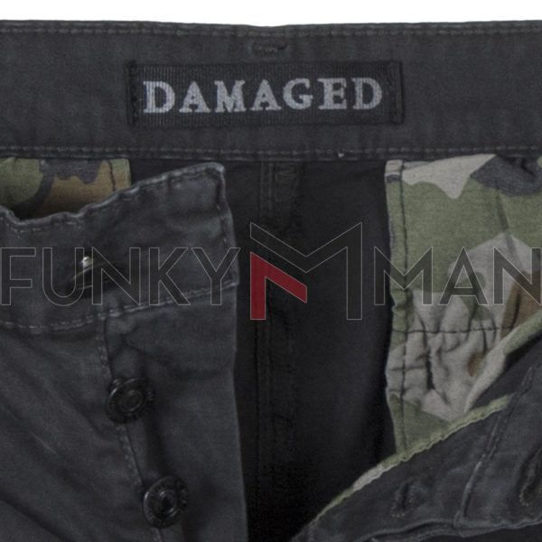 Cargo Παντελόνι με Λάστιχα DAMAGED R33C Army 3D fit Ανθρακί