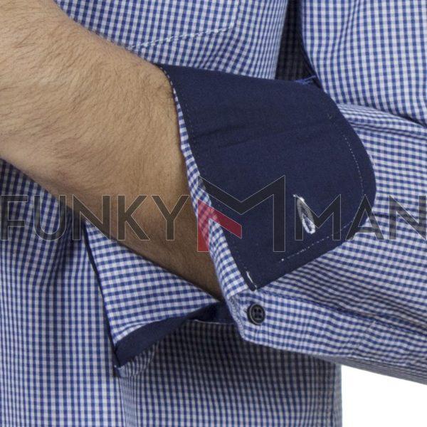 Καρό Μακρυμάνικο Πουκάμισο Regular Fit Check Print DOUBLE GS-498 SS20 Μπλε