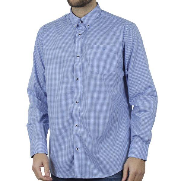 Καρό Μακρυμάνικο Πουκάμισο Regular Fit Check Print DOUBLE GS-498 SS20 Sky Blue