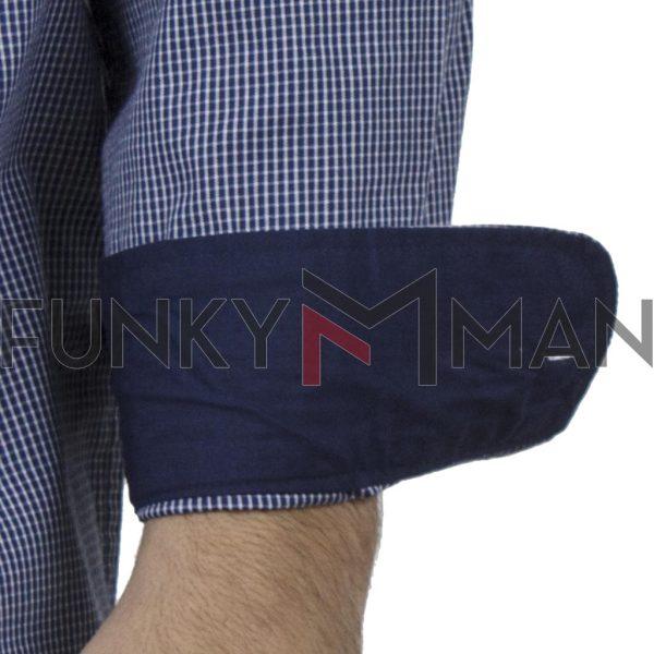 Καρό Μακρυμάνικο Πουκάμισο Regular Fit Check Print DOUBLE GS-498 SS20 σκούρο Μπλε