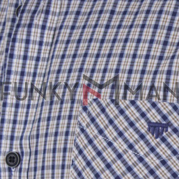 Καρό Κοντομάνικο Πουκάμισο Regular Fit Check Print DOUBLE GS-499S SS20 Καφέ