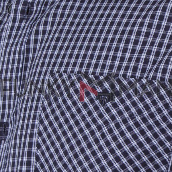 Καρό Κοντομάνικο Πουκάμισο Regular Fit Check Print DOUBLE GS-499S SS20 Μπλε