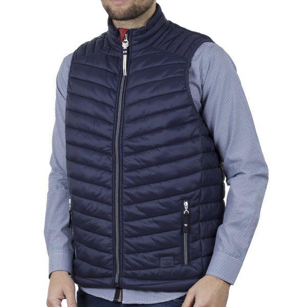 Αμάνικο Μπουφάν Puffer Vest Jacket DOUBLE SMJK-08 Μπλε Indigo