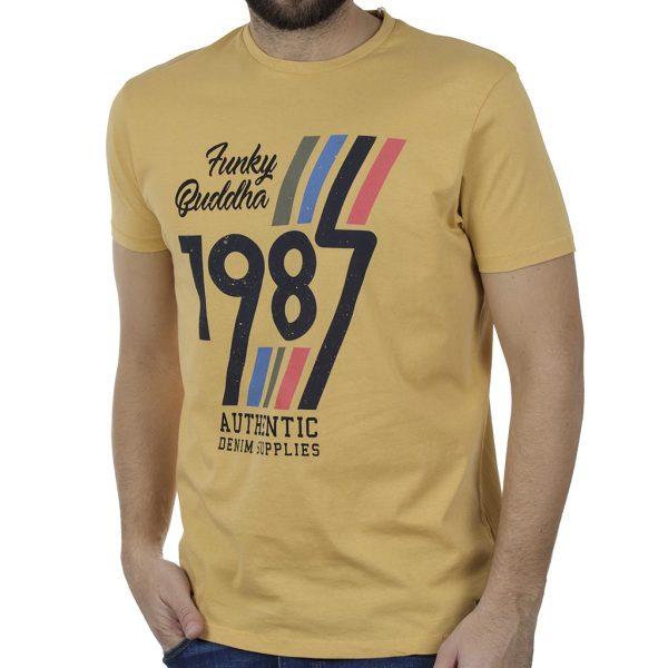 T-Shirt FUNKY BUDDHA FBM00105704 Κίτρινο