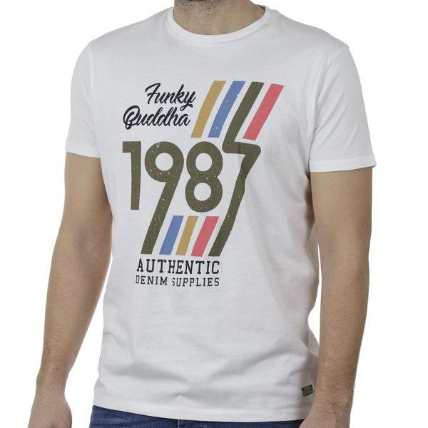 T-Shirt FUNKY BUDDHA FBM00105704 Λευκό