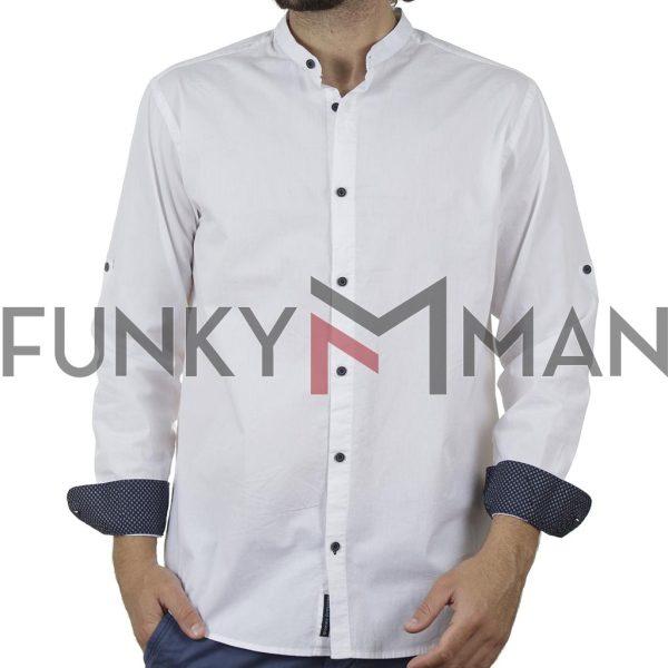 Μάο Μακρυμάνικο Πουκάμισο Slim Fit DOUBLE GS-504 Λευκό