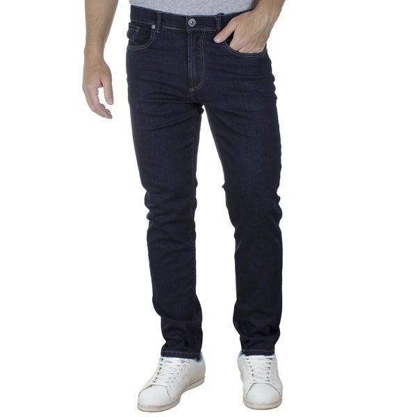 Τζιν Παντελόνι Slim Fit DOUBLE MJP-35 Σκούρο Μπλε