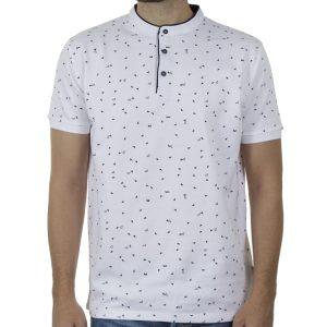 Μάο Κοντομάνικο Μπλούζακι All Over Print DOUBLE PS-238S SS20 Λευκό