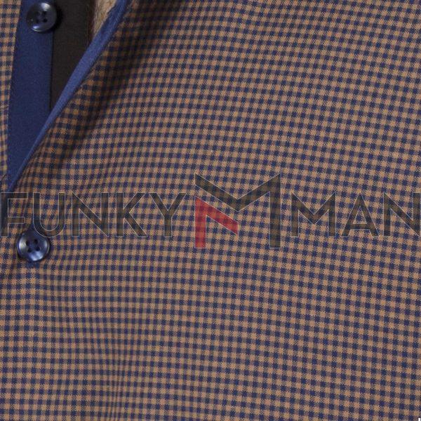 Καρό Πουκάμισο Slim Fit CND Shirts 5500-1 Καφέ